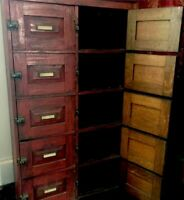 Antique Red Painted Library Catalog, Apothecary, Primitive Farmhouse Cabinet