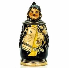 J. Reinemann Character Antique Germany Lidded Mug Beer Stein - Munich Child 1900