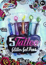 Kids Tattoo Glitter Gel CHARM Pens & Stencil Temporary Stocking Filler Boy Girl