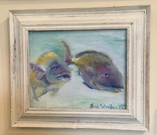 """Two Fishes FISH 8""""x10"""" oil painting Original Framed Signed Art NEW by Artist Van"""