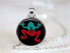 Vintage frog Cabochon Tibetan silver Glass Chain Pendant Necklace jewelry New