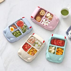 Bamboo Fiber Kids Dinner Lunch Tableware Creative Car Shape Food Plates Dishes