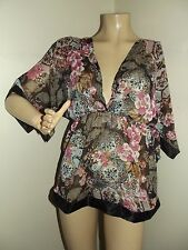 BLACK PINK TURQUOISE Medium LONG FLORAL V-NECK SHEER TUNIC shirt top satin gold