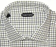 $675 NEW TOM FORD WHITE w GREEN BLACK GRID HAND MADE DRESS SHIRT EU 47 18.5