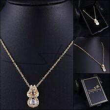 Halskette Kette Damen *Schwung* Gold pl., Swarovski Elements, im Etui original