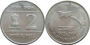 India 2 Rupees 2007 steel issue rare coin ~ Platinum Jubilee of Indian Airforce