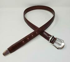 Mezlan Spain Brown Leather Belt Silver Tone Buckle Size 34