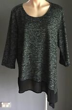 Chic CROSSROADS Grey Black & White  Asymmetric Hem 3/4  Sleeve Top Plus Size 22