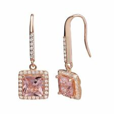 Rose Gold Plated or Silver Plated Pyramid Jewel Drop Dangle Fashion Earrings with Faux Opal and Clear CZ for Women