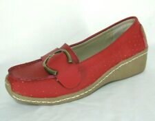 AJ Valencio Shoes Sz 8.5 Red Leather Loafers Wedge Heels Driving Mocs NWOB