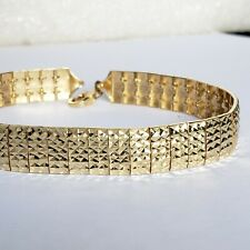 Wide womans real 14k yellow gold bracelet diamond cut 8 Inches Long 9 mm wide