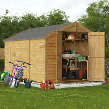 Overlap Wooden Shed Windowless Double Door Apex Roof & Felt Garden Sheds 12x8