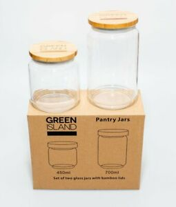 Green Island Glass Pantry Jars 2 Pack with Bamboo Lids