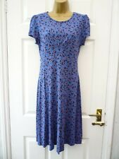 NEXT Ladies Size 8 Blue Multi Geometric Comfy Fit & Flare A Line Jersey Dress