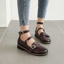Lolita Women Fashion Round Toe Buckle Strap Low Heel Mary Janes Shoes Cosplay B