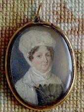 MINIATURE PORTRAIT - Georgian Lady wearing a mop cap. Lock of hair reverse.