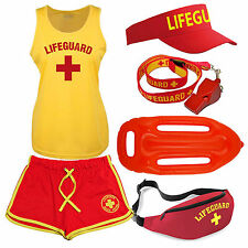 Womens 'Lifeguard +' Costume Fancy Dress Set: Ladies Cool Vest, Shorts + Options