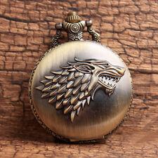 Bronze Game Of Thrones Stark House Wolf  Quartz Pocket Watch Pendant  Watch Gift