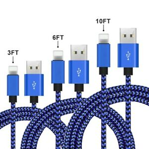 3 Pack 3-6FT-10FT Heavy Duty USB Cable For iPhone 11 X XR XS Charger Cords Camo