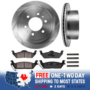 Rear Brake Disc Rotors And Ceramic Pads For Ford F150 Mark LT 4X4 4WD 2WD