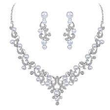 Weiße Perle Kristall Strass Braut Halskette Ohrringe Hochzeit Schmuck Sets
