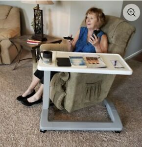 Carex Overbed Table Swivel Wheels Hospital Bed Table Adjustable Rolling Tray.NEW