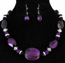 COWGIRL Metallic Brushed Purple Black Silver Beads Necklace & Earring Set