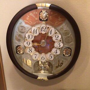 "SEIKO Clock-""melodies in motion""wall clock w/Swarovski crystals & Box works well"