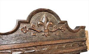 Fleur de lis decorative carving pediment Antique french architectural salvage