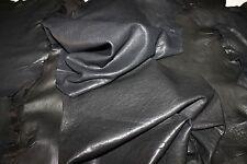 lambskin THICK leather skin skins VEGETABLE TAN WASHED ANTIQUED BLACK 3sqf