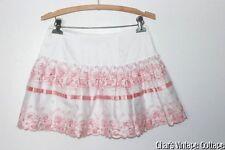 BETSEY JOHNSON~Sweet Embroidered Mini Skirt w/Pink Satin Ribbon Trim XS/S
