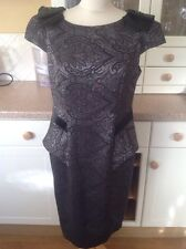 GREAT MARKS & SPENCERS PER UNA BLACK & SILVER EVENING DRESS UK SIZE 14 WORN ONCE
