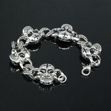Mens Cross Skull Head Link Stainless Steel Bracelet Chain Bangle Biker Jewelry