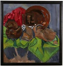 """UNUSUAL MODERN STILL LIFE PAINTING ON BOARD CERAMICS, SIGNED A. MILDES 27"""" x 26"""""""