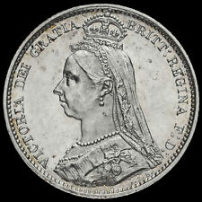 More details for 1888 queen victoria jubilee head silver sixpence, unc