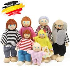 7er Holzpuppe Spielzeug Cartoon Familie Puppen für Kinder Spiel Haus Geschenk