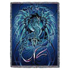 New Dragonblade Afghan Cotton Gift Throw Blanket Blue Dragon Wall Decor Hanging