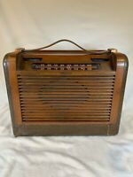 ANTIQUE 1946 OLD PHILCO 46-350 WOOD LEATHER VINTAGE RADIO *WORKS* d709