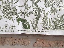 NEW Bird Toile Linen Blend Fabric 2 Yards Green & Off White