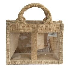 1 x Two Window Jar Jute Gift Bag natural Bags With Handles 18 X 10 X 13cm