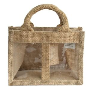 5 x Two Window Jar Jute Gift Bag natural Bags With Handles 18 X 10 X 13cm