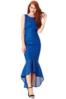 New Blue Textured Fishtail Cocktail Evening Prom Party Maxi Dress Size (8-14)