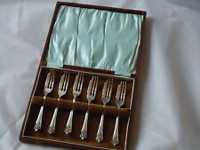 Vintage Forks 6 Set Silver Nickel Plated Boxed -Made in England Retro Film Prop