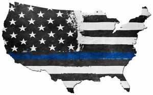 VINTAGE SIGN USA Map Thin Blue Line 35 x 21