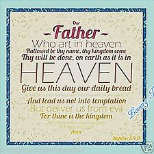 """Qt """"Our Father"""" Religious Christian Lord'S Prayer Bible Fabric Panel 23"""" X 44"""""""