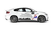 SPIDERMAN WITH SPIDER WEB  DECAL GRAPHIC VINYL FOR SIDE OF CAR