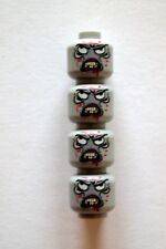 Custom Designed Minifigure Heads 4 X Zombie Walking Dead Printed On LEGO Parts