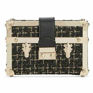 INC International Concepts INC Gonca Boucle Box Clutch Black NWT! $99.50