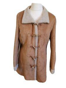 M&S Per Una Women's Faux Sheepskin Tan Duffel Jacket Coat Size Medium Approx 12
