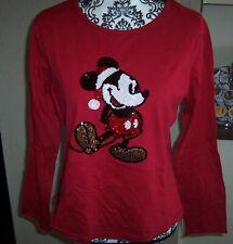 New listing Walt Disney World red sequin L Lg Large Santa Mickey Mouse long sleeve top shirt